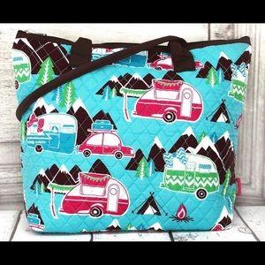 New! Happy camper quilted shoulderbag w/brown trim